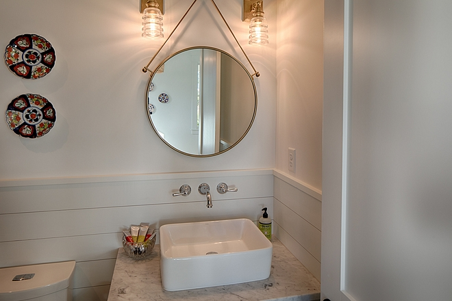 Bathroom shiplap wainscoting Small Bathroom with shiplap wainscoting shiplap wainscoting #shiplapwainscoting