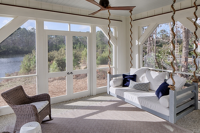 Screened in porch wih rope swing Screened in porch off master bedroom with porch swing #porch #screenedinporch #porchswing #ropeswing