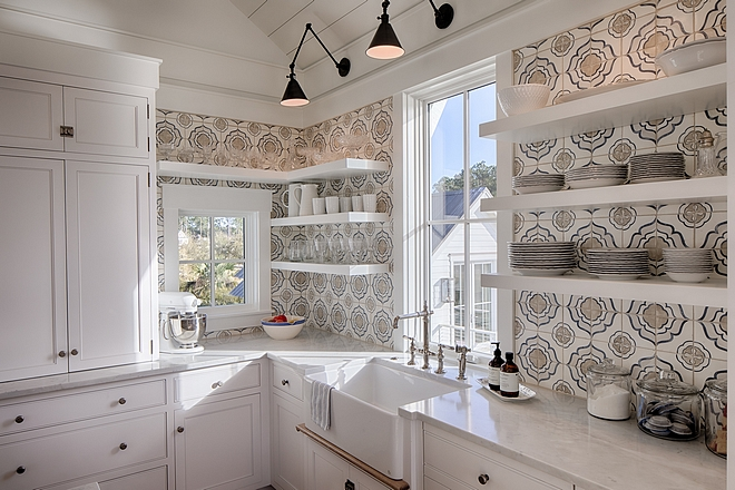 Walker Zanger Jasmine Decorative field tile in Mezzanotte Kitchen cement tile backsplash #kitchenbacksplash #cementtile #cementtilebacksplash #WalkerZanger #tile