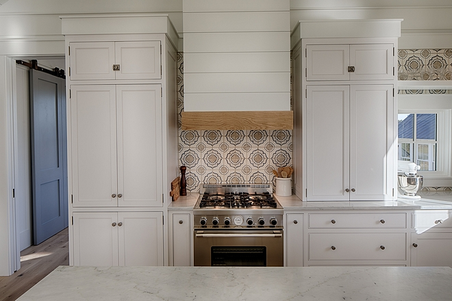 "Kitchen range is from Italy - ""Tecnogas Superiore"" and the shiplap kitchen hood with White Oak mantel is custom"