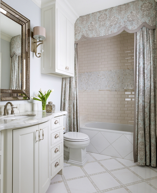 Traditional Bathroom Traditional Bathroom cabinet paint color Sherwin Williams Alabaster with pale blue walls Traditional Bathroom Ideas Traditional Bathroom Vanity Traditional Bathroom #TraditionalBathroom