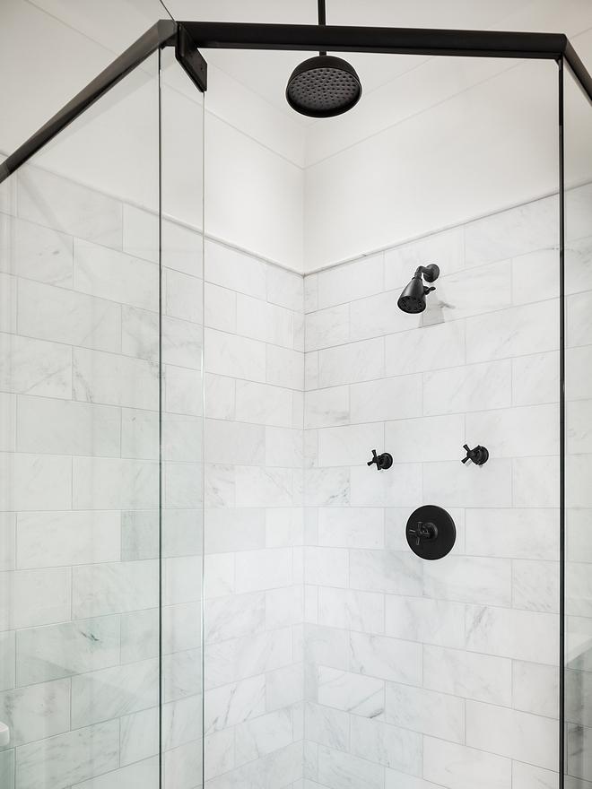 Shower Tile Walls are Arabescato Carrara Marble Tile Floors are Carrara hexagon mosaic tile Shower Tile Shower Tile #ShowerTile #Shower #Tile