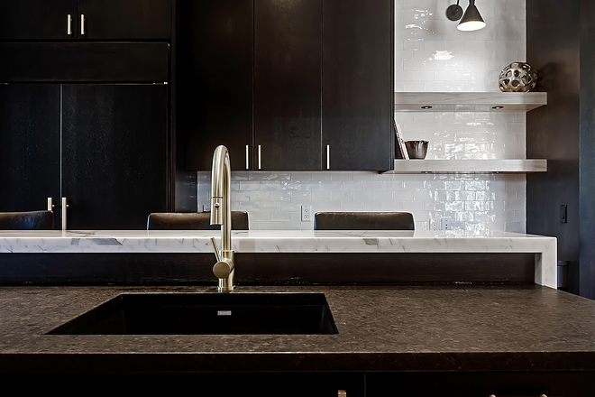 Kitchen Island Faucet and Sink Black kitchen sink with Brass Faucet Kitchen #kitchen #kitchenfaucet #kitchensink #blackkitchensink