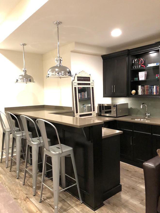 Basement Bar with grey quartz Countertop Basement Bar with grey quartz Countertop and metal stools Bar layout with grey quartz #basement #bar #greyquartz #countertop