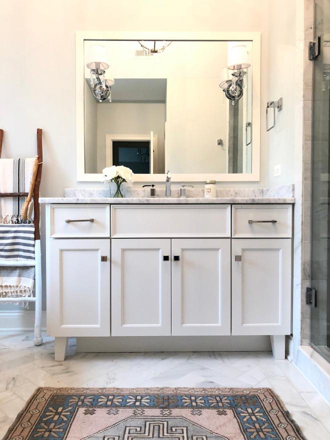 Bathroom Vanity Bathroom Vanity White Bathroom Vanity with framed mirror Bathroom Vanity #BathroomVanity #vanitymirror #framedmirror