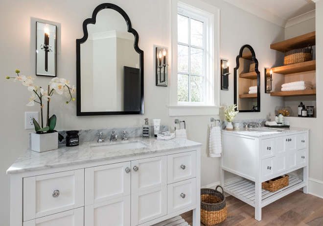 Bathroom Vanity Bathroom Vanity We chose to install two separate furniture vanities instead of a single dual sink vanity Doing so provides for a more luxury feel, and gives more space for each sink #BathroomVanity