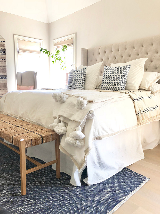 Bedroom Throw Neutral bedding Ideas Textures Well dressed bed Master Bedroom with neutral decor and neutral bedding #bedding #neutralbedding #throw #bedroom
