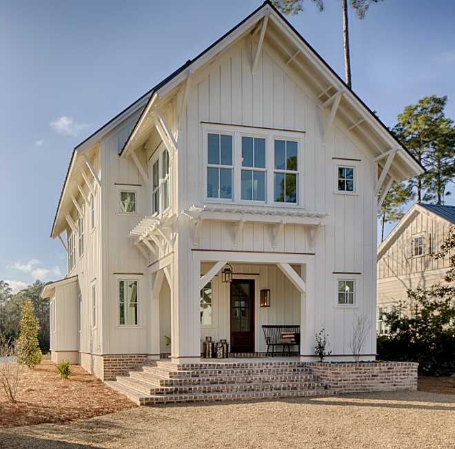 "Benjamin Moore White Exterior White Modern Farmhouse Siding Paint Color Exterior paint color is Benjamin Moore ""White"" #Exteriorpaintcolor #BenjaminMooreWhite"