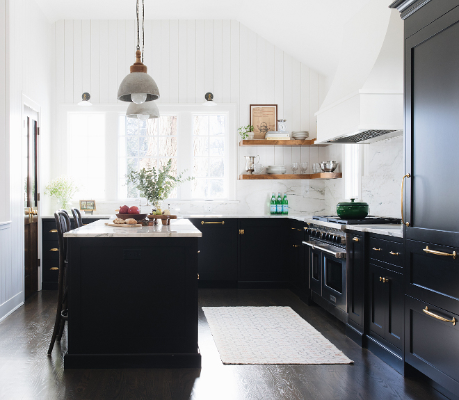 Black Farmhouse Kitchen White shiplap walls ceiling and trim are painted in Benjamin Moore Simply White