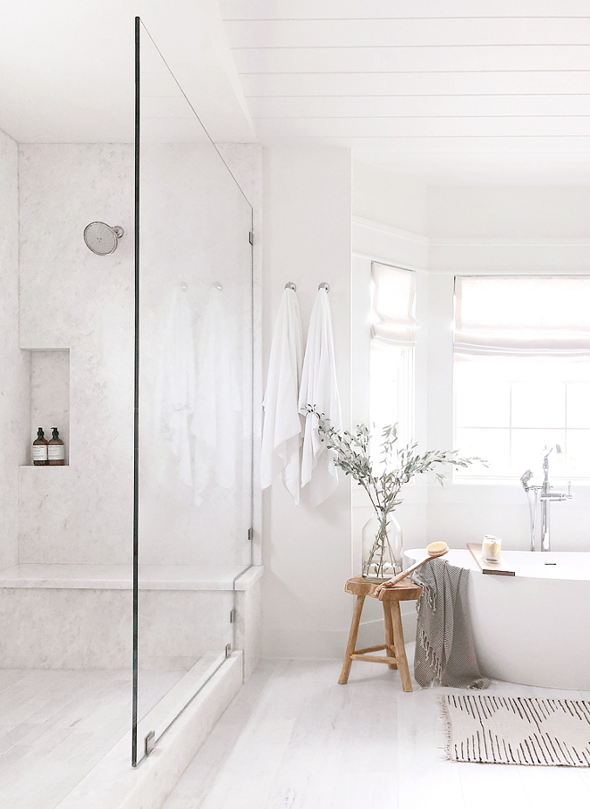 Farmhouse Bathroom Shower Shower with large slab Opal White marble Farmhouse Bathroom Shower Farmhouse Bathroom Shower #Farmhouse #Bathroom #Shower #farmhousebathroom #bathroomshower