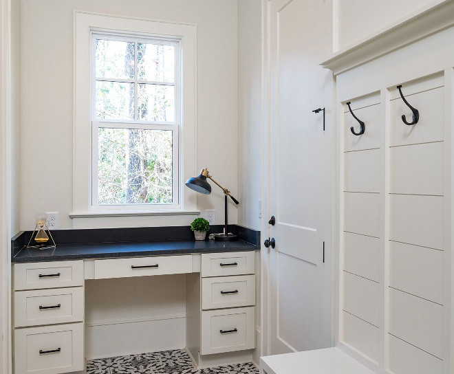 Drop Zone paint color Benjamin Moore Dove Wing Drop Zone paint color Benjamin Moore Dove Wing This drop zone includes a small desk space for a home management center, menu planning space #DropZone #paintcolor #BenjaminMooreDoveWing