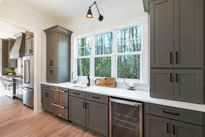 Grey Kitchen opens to grey butlers pantry same color on both kitchen and butlers pantry for a seamless look #greykitchen #greybutlerspantry #greycabinet