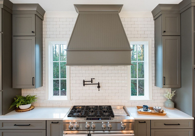 Grey Kitchen with Full wall of tile and custom range hood Kitchen Grey Kitchen with Full wall of tile and custom range hood #GreyKitchen