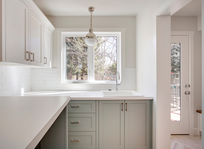 Laundry Room Laminate Countertop Affordable and durable, perfect for laundry rooms Countertop is Laminate - Pinonite Winter White Laundry Room Laminate Countertop #LaundryRoom #LaminateCountertop