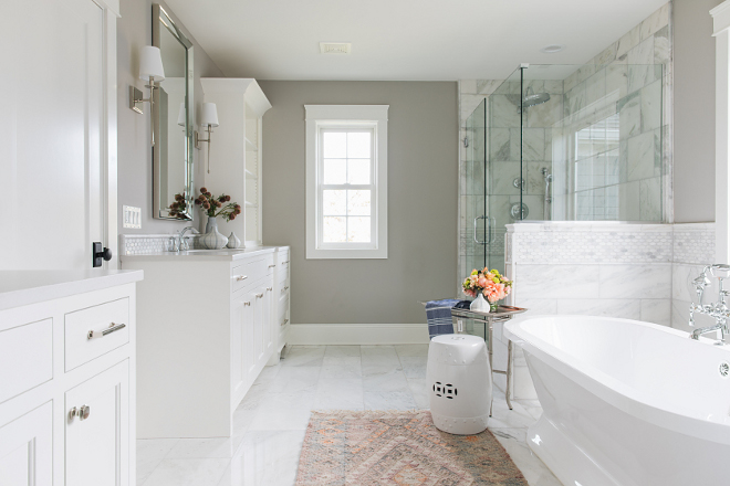 Grey bathroom with white cabinet and marble tile