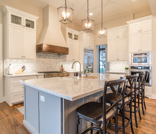 Sherwin Williams Dorian Gray SW 7017 Grey kitchen island with white marble countertop Sherwin Williams Dorian Gray SW 7017 This is actually one of my favorite grey paint colors for cabinetry #Sherwin WilliamsDorianGray #Sherwin WilliamsDorianGraySW7017
