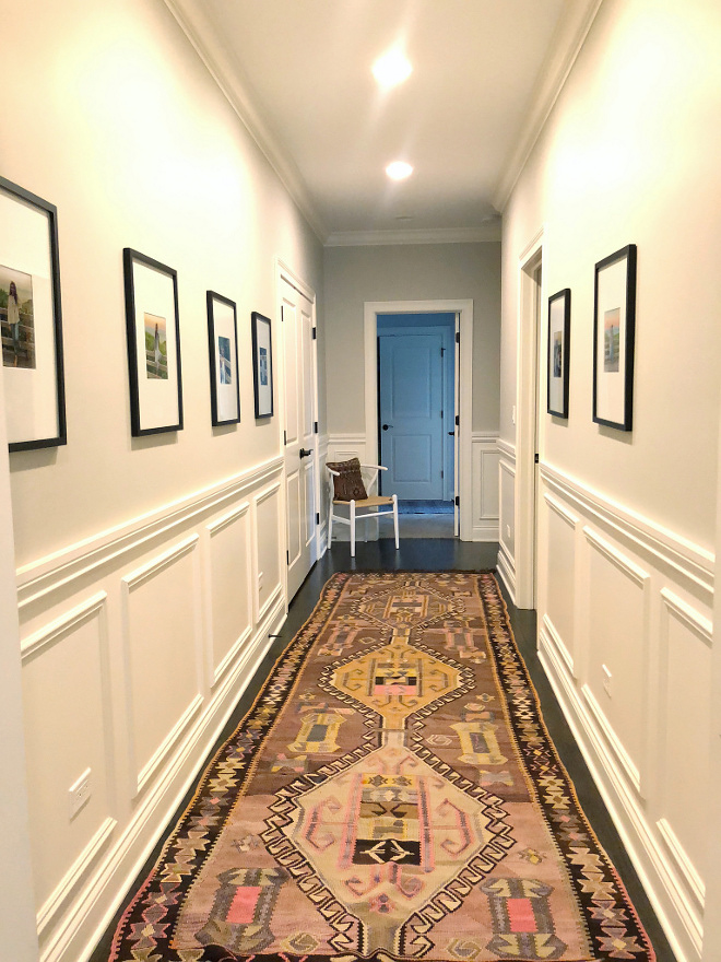 Hall Vintage Runner I absolutely love this vintage rug I snagged from Etsy that I paired with beautiful pictures of my family I did not know what else to do with this long hallway #hall #runner #vintagerunner #etsyrunner