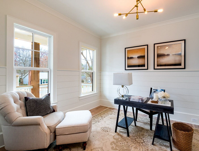 Home Office with Shiplap wainscoting Half wall Shiplap The shiplap wainscoting adds to the farmhouse style and is painted in Benjamin Moore White Dove The walls above the shiplap wainscoting are painted in Benjamin Moore Dove Wing #HomeOffice #Shiplap #HalfwallShiplap #shiplapwainscoting