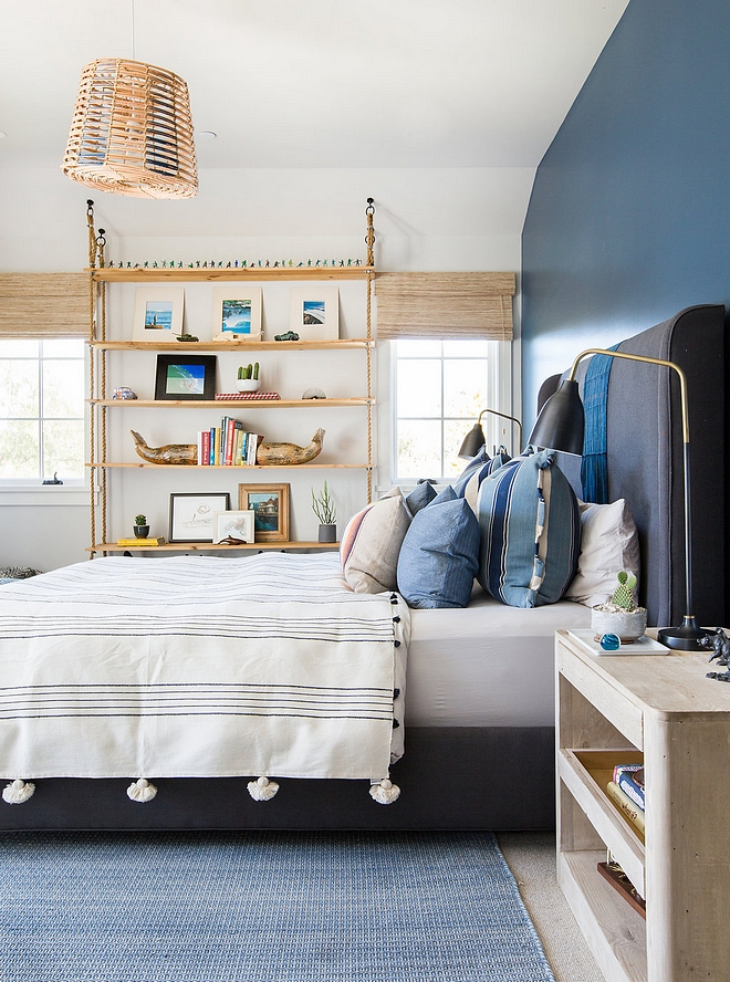 Farrow and Ball Hague Blue No 30 Blue and white kids bedroom with blue accent wall painted iin Farrow and Ball Hague Blue No 30 Farrow and Ball Hague Blue No 30 #FarrowandBallHagueBlue #FarrowandBallHagueBlueNo30