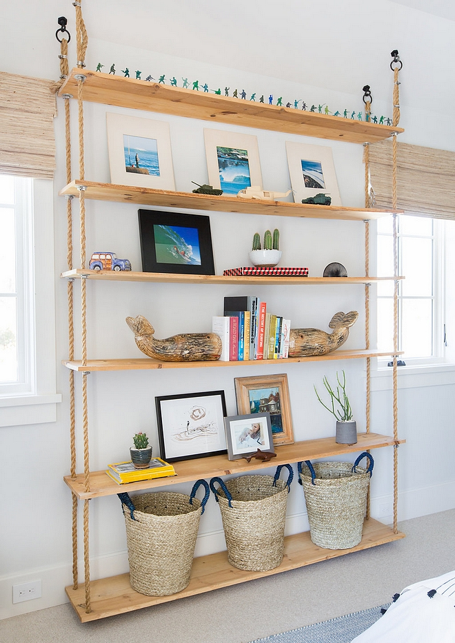 DIY Rope Bookcase DIY Rope Bookcase Ideas Hung DIY Rope Bookcase Plans Rope bookcase is hung on ceiling #DIYRopeBookcase #DIY #RopeBookcase
