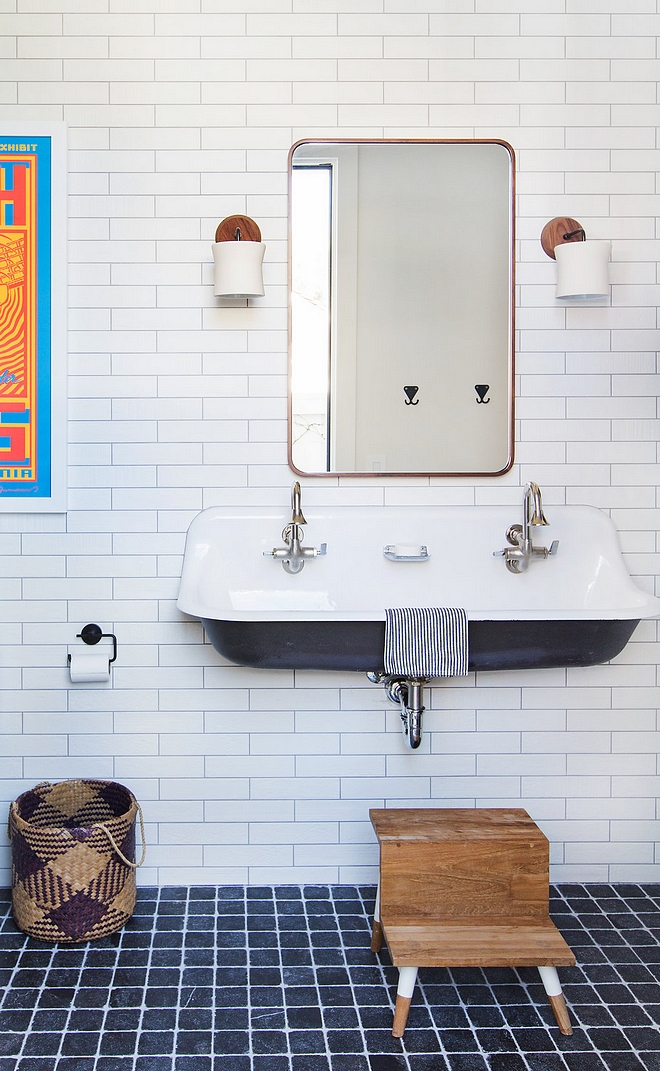 Kids Bathroom with floating Kohler sink with 2.5x10 white subway tile #kidsbathroom #subwaytile