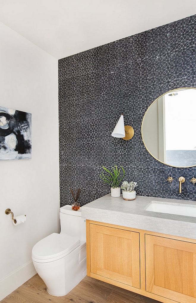 Modern Farmhouse Bathroom with floating vanity with thick countertop and tile accent wall #modernfarmhousebathroom #floatingvanity #thickcountertop