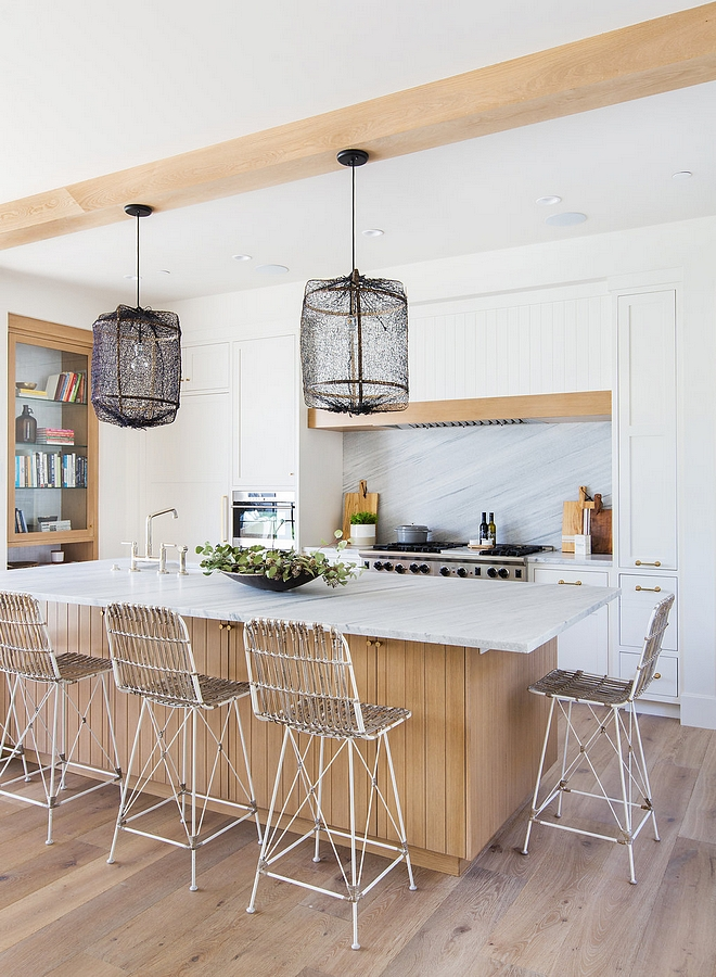 White kitchen with Rift Oak Kitchen Island and Rift Oak Ceiling Beams Rift Oak Rift Oak Kitchen #kitchen #RiftOak #RiftOakkitchen #RiftOakisland