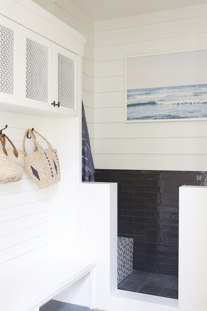 "Mudroom Pet Shower We added a ""doggie shower"" which we use to rinse off when we come home from the beach With two kids, this little shower is a huge blessing #Mudroom #PetShower"