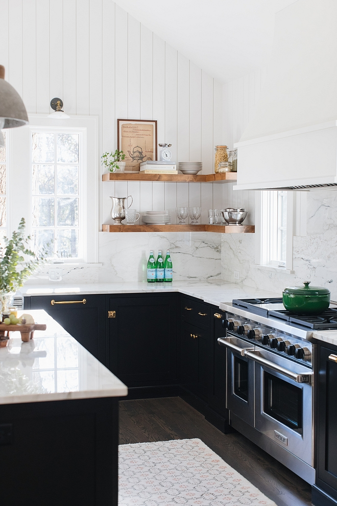 Marble Backsplash Slabs of Calacatta Crema marble meets the vertical shiplap on walls #marblebacksplash #slabbacksplash #kitchen #backsplash #shiplap