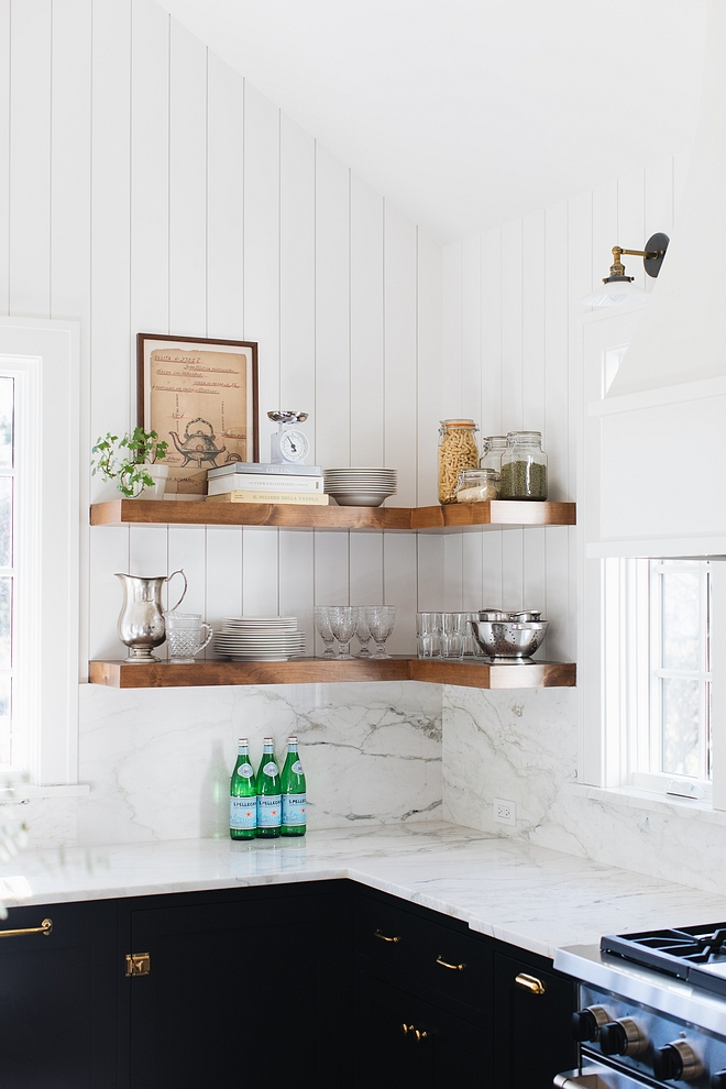 Kitchen floating chunky shelves Farmhouse kitchen with vertical shiplap walls and floating chunky shelves #Kitchen #floatingshelves #chunkyshelves #shiplap #kitchen #kitchenshelves #chunkyshelves