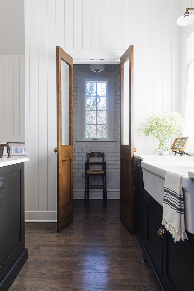 Farmhouse Pantry Pantry Tile The pantry features floor-to-ceiling white subway tile Farmhouse Pantry Subway Tile #FarmhousePantry #pantry #whitesubwaytile #subwaytile