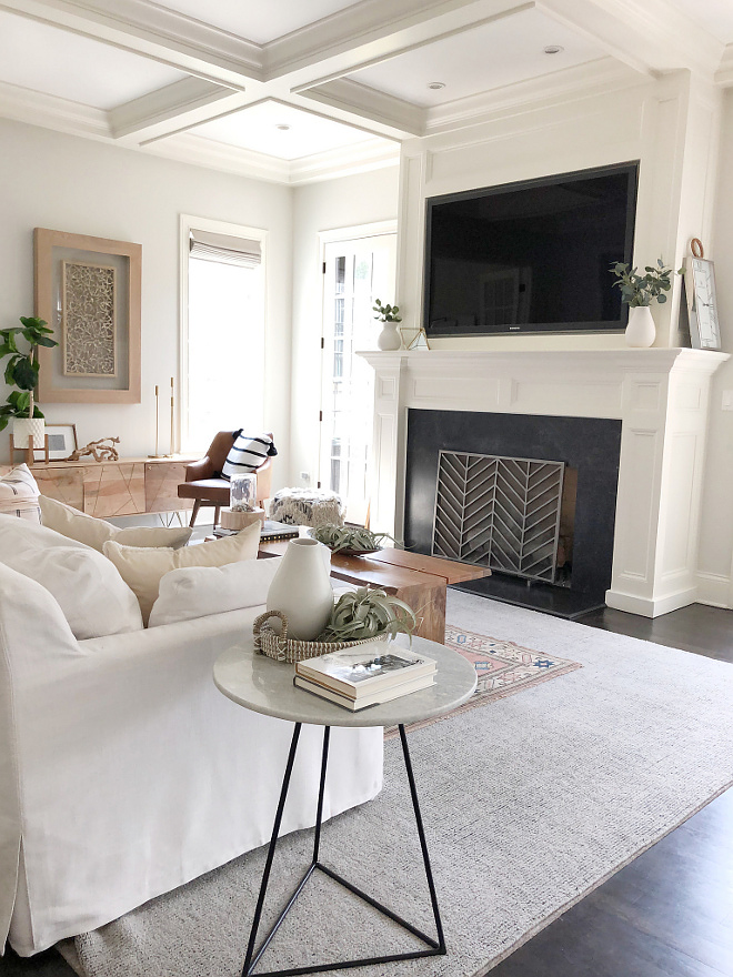 Leathered Black Granite Fireplace Living room with white walls white trim white coffered ceiling and Leathered Black Granite Fireplace #LeatheredBlackGranite #Fireplace