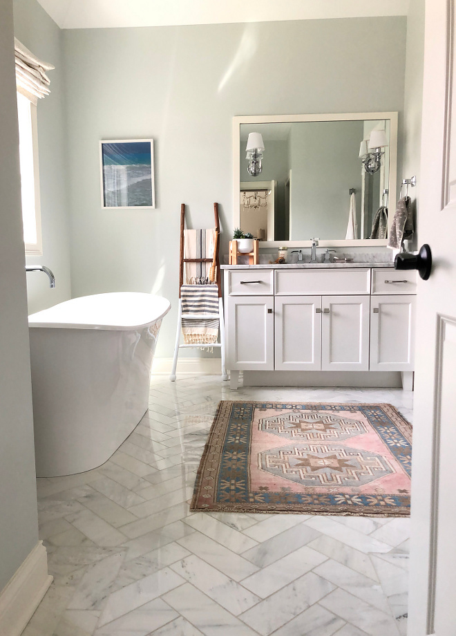 Marble Herringbone Tile Bathroom Marble Herringbone Tile Bathroom flooring is Carrara marble tile set in a herringbone pattern Bathroom Marble Herringbone Tile #Bathroom #MarbleHerringboneTile