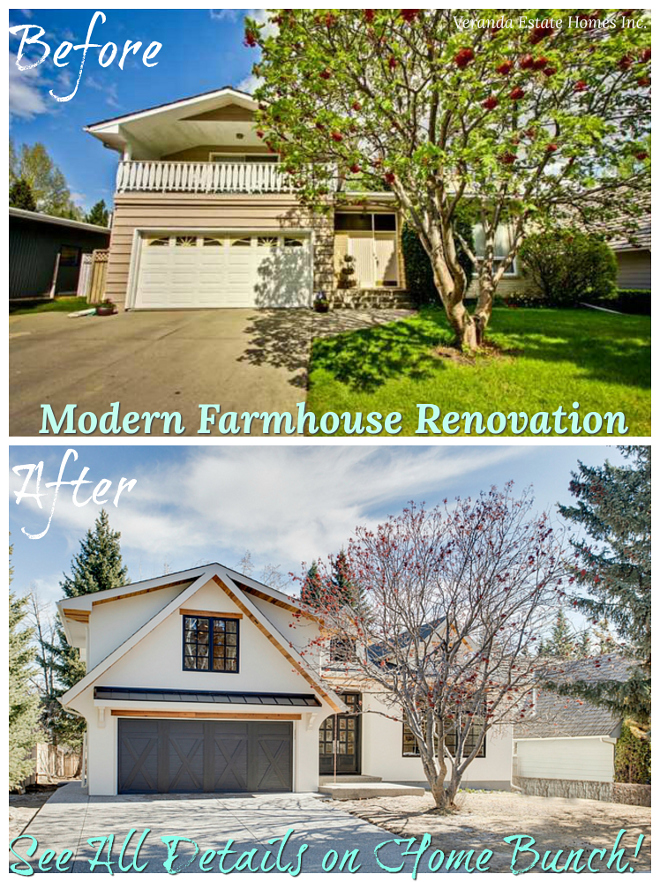 """Before After Exterior Renovation The """"Before & After"""" is quite shocking Notice the improved architectural details this home now features Before After Exterior Renovation Modern Farmhouse Before After Exterior Renovation Before After Exterior Renovation #BeforeAfter #BeforeAfterExterior #BeforeAfterExteriorRenovation"""