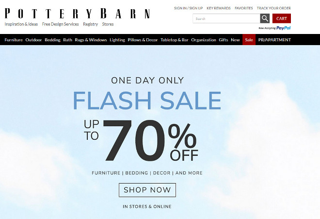 Pottery Barn 70% OFF Sale