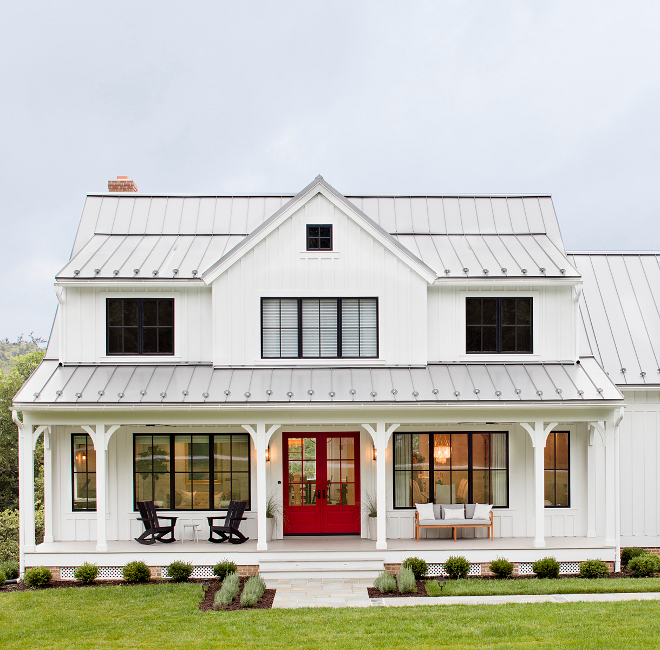 Modern Red Front Door: Board & Batten Modern Farmhouse