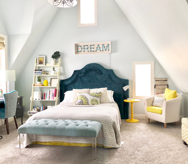Teen Bedroom Decor Ideas Blue Teal and Yellow Bedroom #teenbedroom #teal #yellow