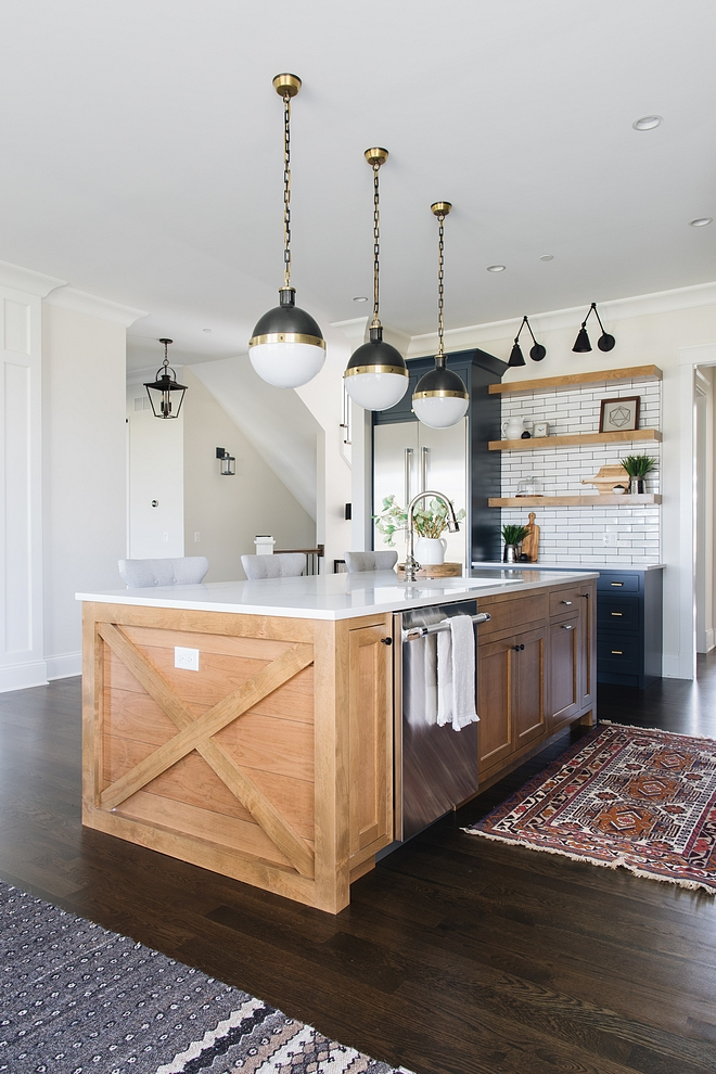 Farmhouse kitchen island with crossed sides and shiplap The x with shiplap kitchen island is Hickory with a natural stain #farmhousekitchenisland #farmhousekitchen #crossedislandsides #shiplapkitchenisland #shilapisland
