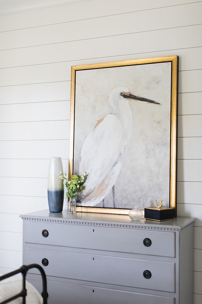 Dresser decor Bird artwork Bird painting artwork above grey dresser Dresser decor ideas #birdartwork