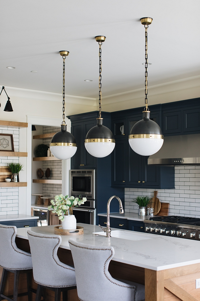 Hicks Large Pendant Kitchen island with three Hicks Large Pendants Hicks Large Pendant #HicksPendant #islandlighting