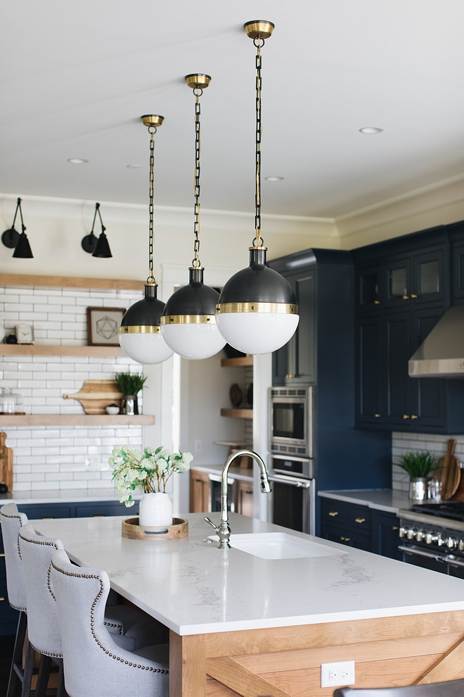 Statuario Nuvo Polished kitchen countertop navy blue kitchen with Statuario Nuvo Polished countertop #StatuarioNuvoPolished #kitchen #countertop