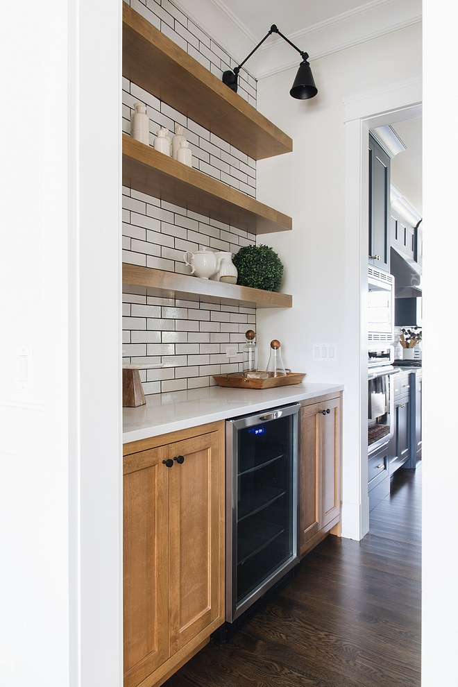 Butlers pantry Hickory Cabinet with Hickory Floating Shelves and subway tile with black grout Butlers pantry Hickory Cabinet with Hickory Floating Shelving #Butlerspantry #HickoryCabinet #FloatingShelves