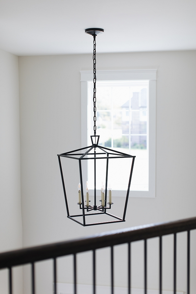 Black Metal Staircase Lighting against Benjamin Moore Classic Gray Walls