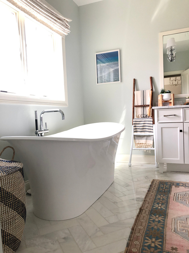 Tub is Victoria and Albert Tub Victoria and Albert. We splurged on this tub because it keeps the water warm for a long time because it is made out of volcanic rock #soakingtub #freestandingtub
