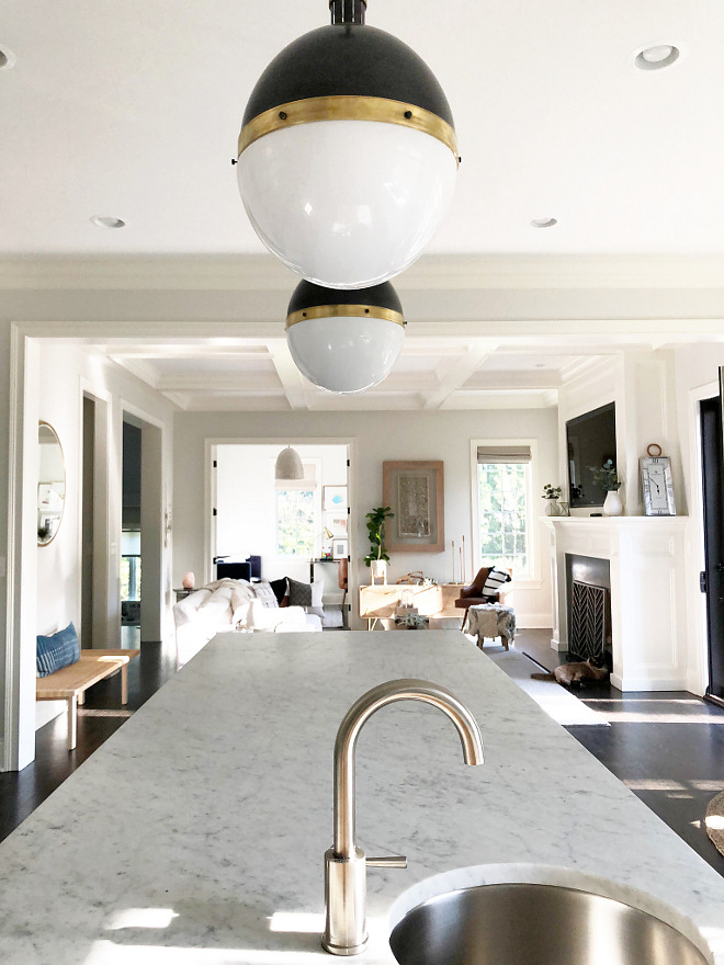 White Marble Kitchen Island with Prep-Sink and modern brushed brass faucet Kitchen Prep-Sink and modern brushed brass faucet #PrepSink #modernbrushedbrassfaucet #brushedbrassfaucet #kitchenbrushedbrassfaucet
