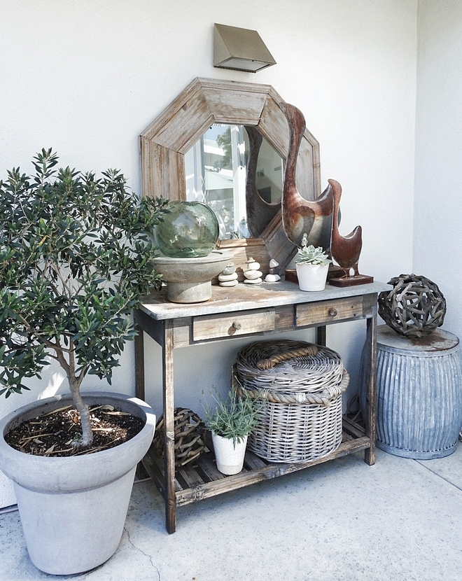 Outdoor Console Table Vignette Ideas Cement Console Table Outdoor Console Table Vignette Outdoor Console Table Vignette #OutdoorConsoleTable #OutdoorVignette