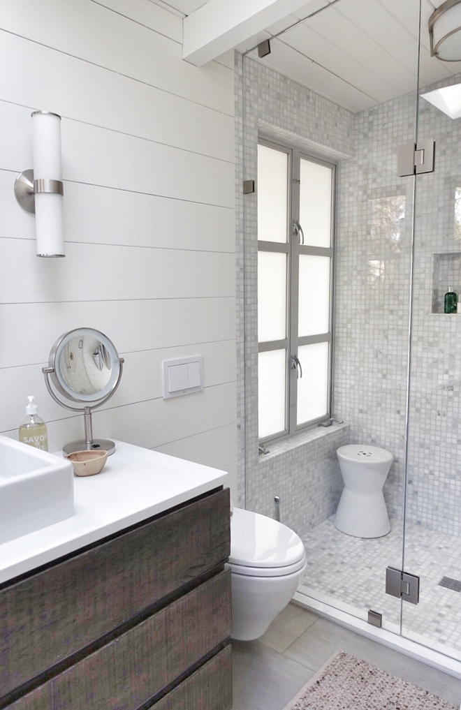 Bathroom Shiplap Paint is Benjamin Moore White Dove in satin finish on the wood walls Bathroom Shiplap Paint Bathroom Shiplap Paint Bathroom Shiplap Paint #BathroomShiplapPaint #bathroomshiplap #bathroom #shiplap #ShiplapPaint
