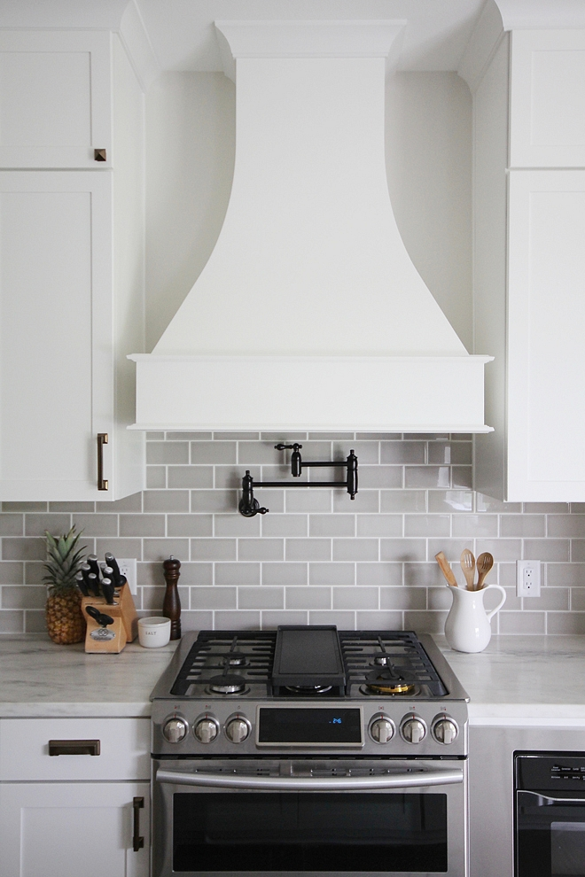 Curved Kitchen Hood White kitchen with Curved Kitchen Hood and grey subway tile Curved Kitchen Hood #CurvedKitchenHood #KitchenHood