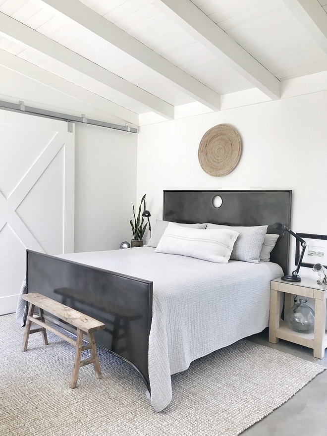 Metal Bed Bedroom metal bed natural rug concrete flooring Wall paint color is Benjamin Moore White Dove Metal Bed Bedroom #MetalBed #Bedroom