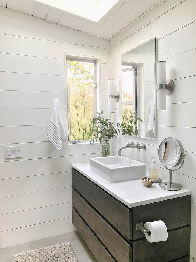 Small bathroom reno with shiplap For the bathroom reno we used RH vanity, lighting and medicine cabinet Small bathroom reno with shiplap ideas #Smallbathroomreno #shiplapbathroomreno #bathroomreno